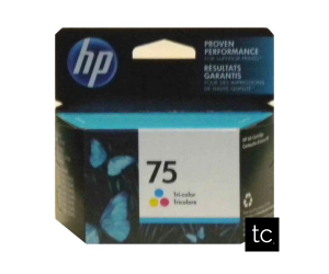 HP 75 original tri-color cyan magenta yellow inkjet cartridge