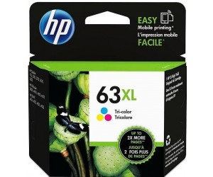 HP 63XL original tri-color cyan magenta yellow high yield inkjet cartridge