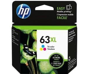HP 63XL original tri-color cyan magenta yellow high yield inkjet cartridge